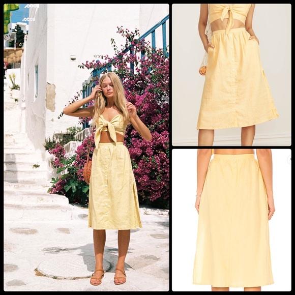 3b6950e9fb Faithfull the Brand Dresses & Skirts - FAITHFULL THE BRAND☀ Seine Skirt  Pale Yellow